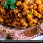 titled image for Pinterest shows dish of chickpea curry vegan masala