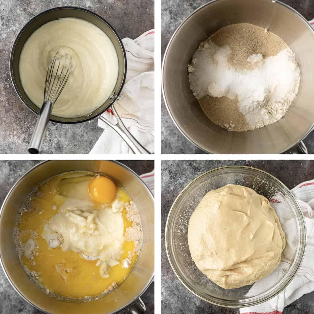 4 photo collage shows steps to make dough for pork bao