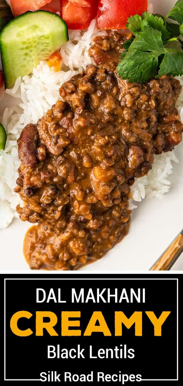 """titled image """"creamy black lentils"""" shows black dal spooned over rice with cucumber and tomato"""