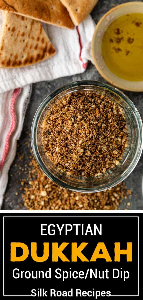 ground Egyptian dukkah with oliv eoil and pita