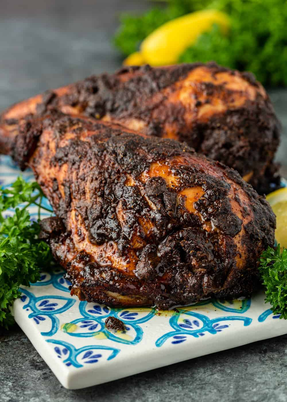 close up: pieces of charred iraqi grilled chicken