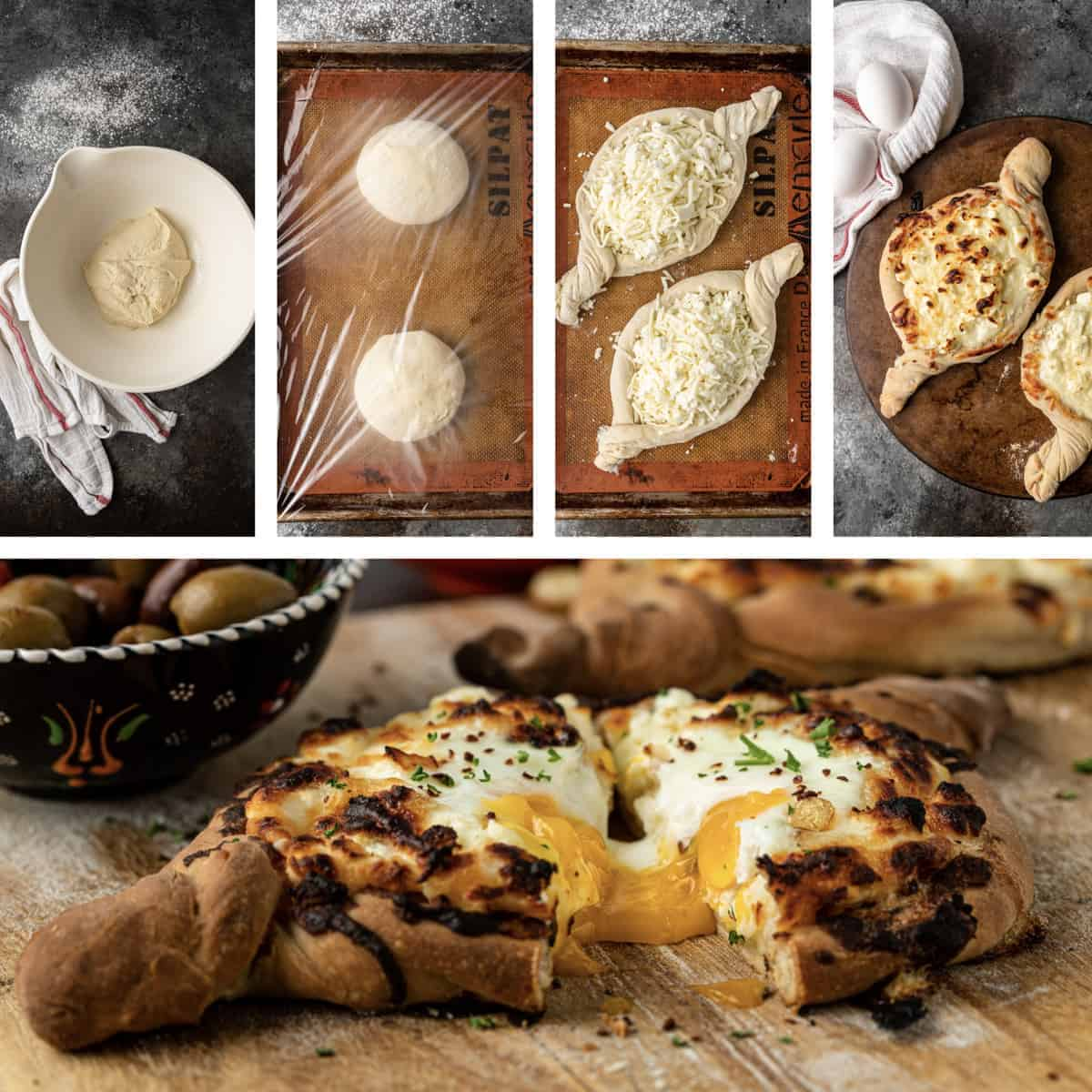 photo collage shows steps to make a Khachapuri recipe and finished Georgian bread boat