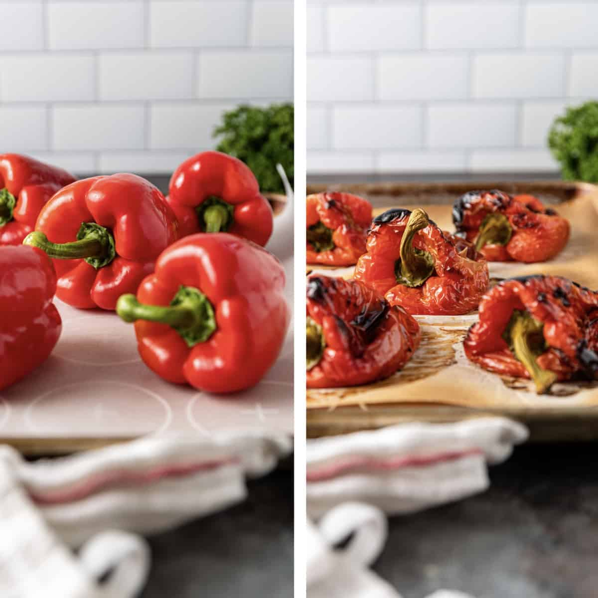 side by side photo of fresh and roasted red bell peppers