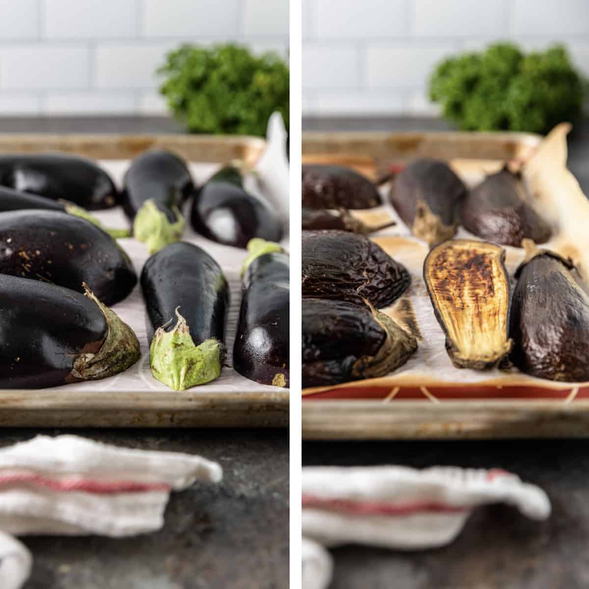 side by side photos of eggplant, before and after charring in the oven