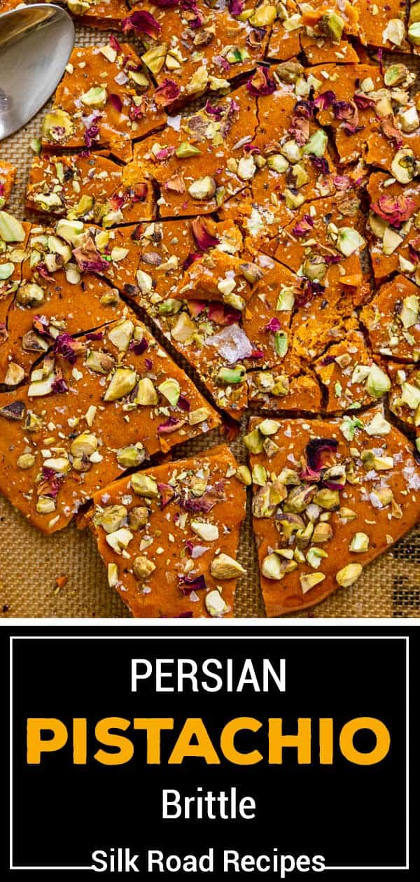 titled photo for Pinterest (and shown): Persian Pistachio Brittle - Silk Road Recipes