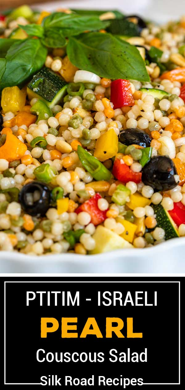 Couscous Salad with basil, black olive and veggies