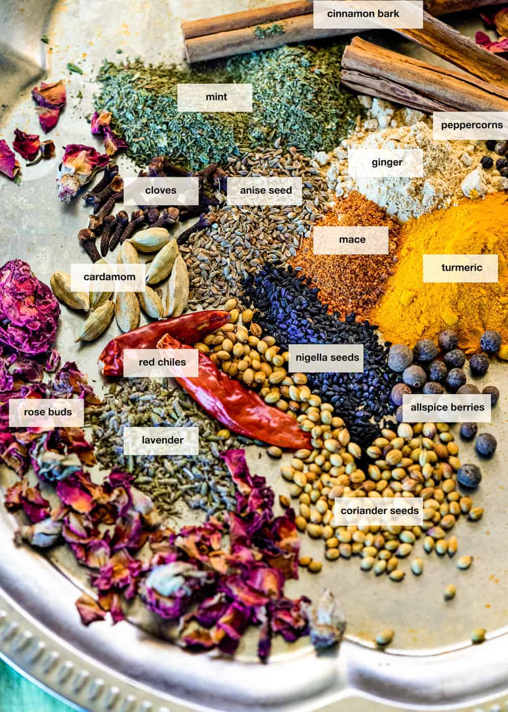 assortment of dried edible flowers and other dry spices and seeds on a plate