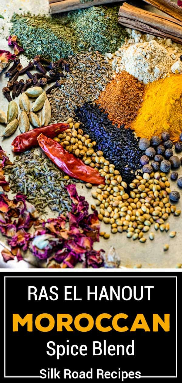 titled photo collage (and shown): Ras el Hanout Recipe (Moroccan Spice Blend) - Silk Road Recipes