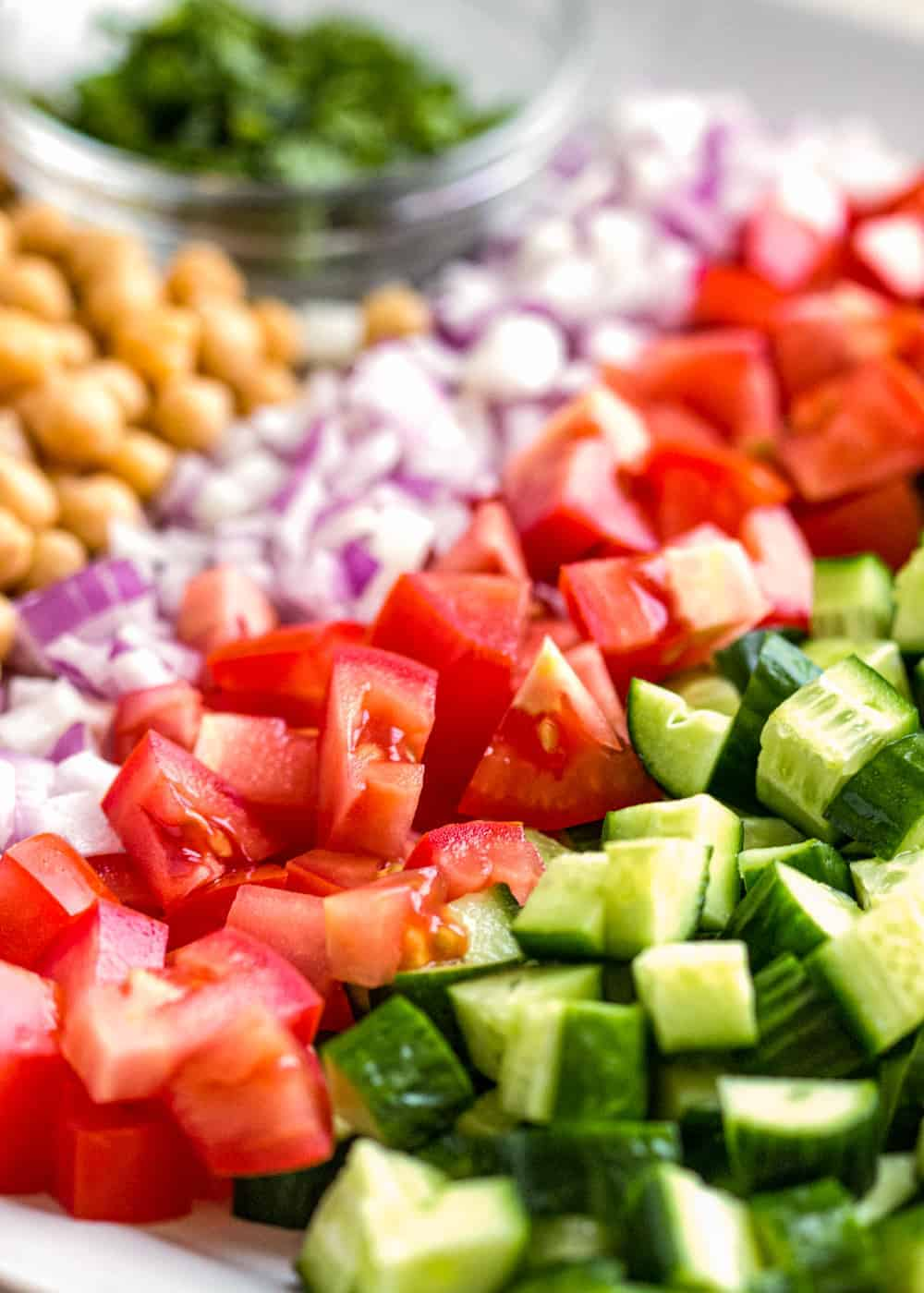 rows of chopped cucumber, tomato, red onion, and chickpeas with a bowl of bowl of fresh mint in the background