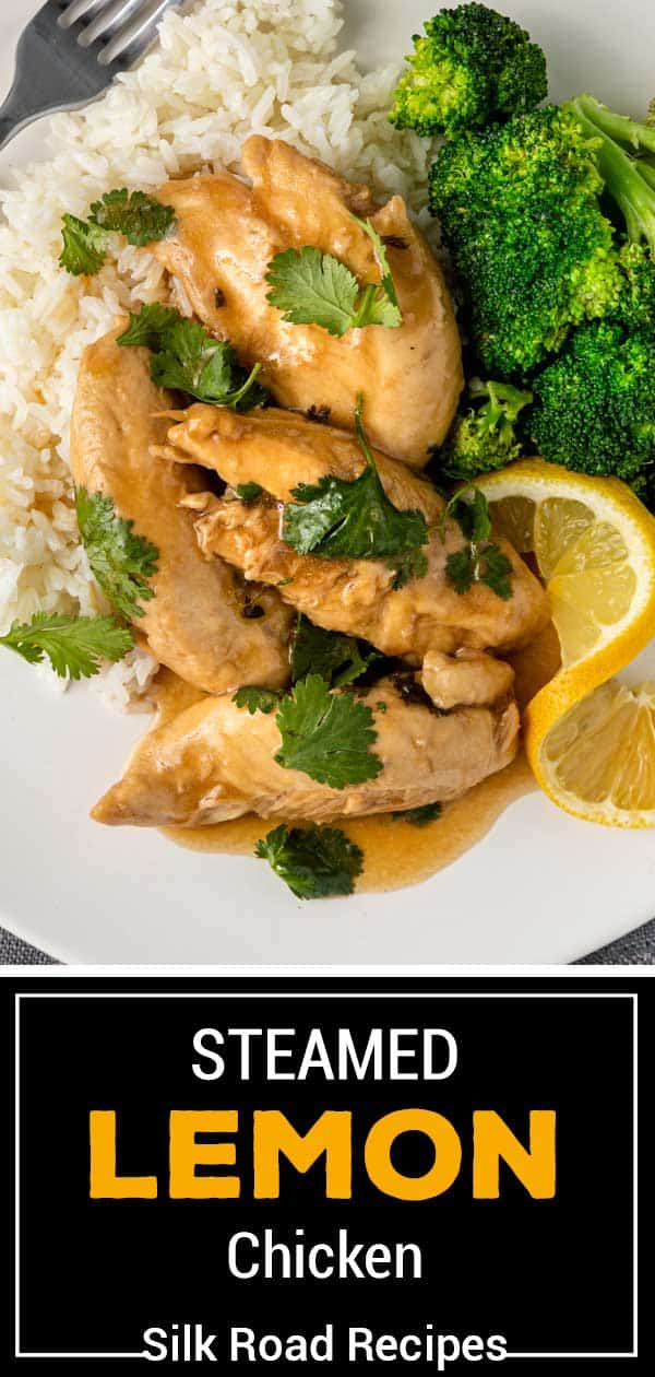 Chinese steamed chicken on plate with white rice and steamed broccoli