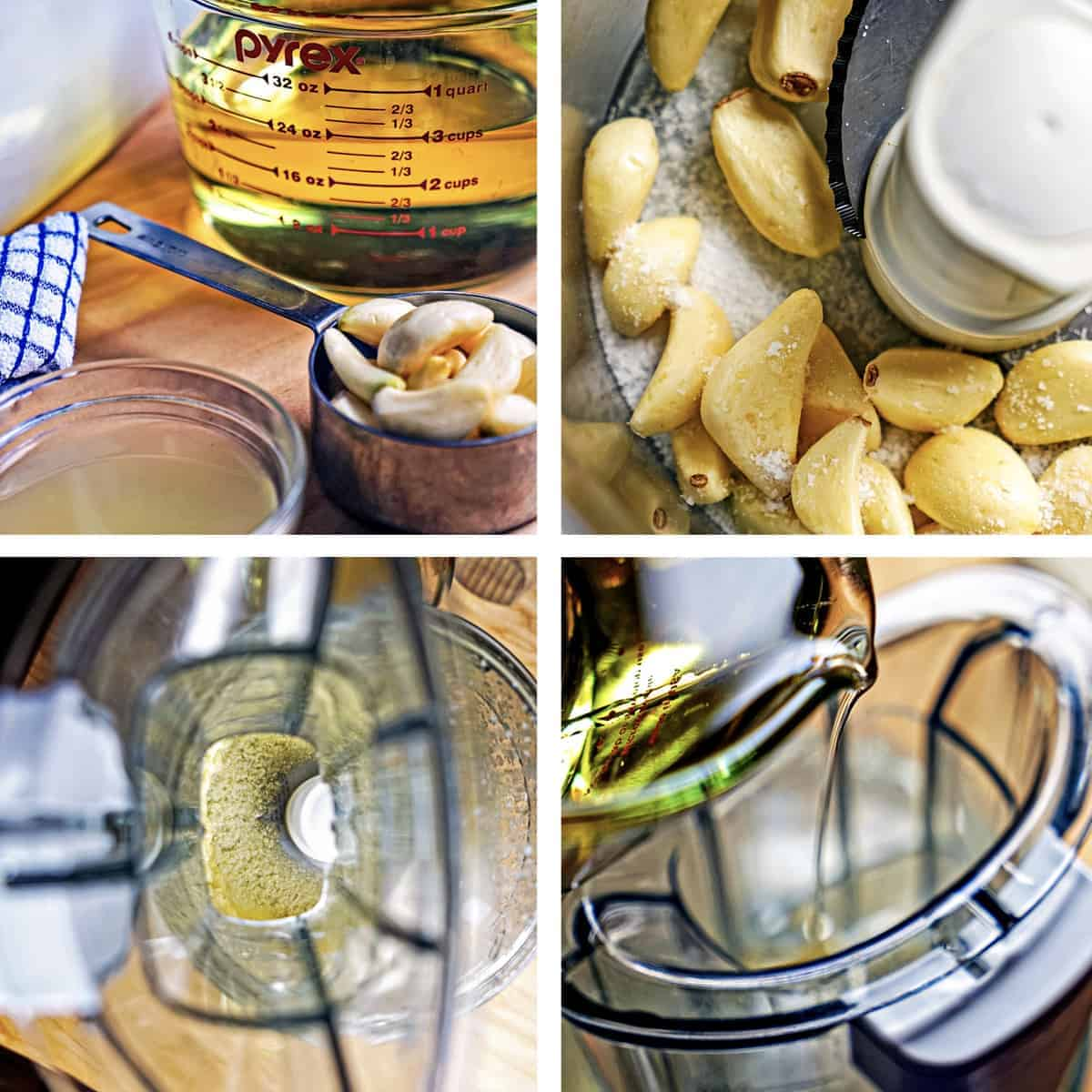collage of photos showing ingredients and how to make garlic spread recipe