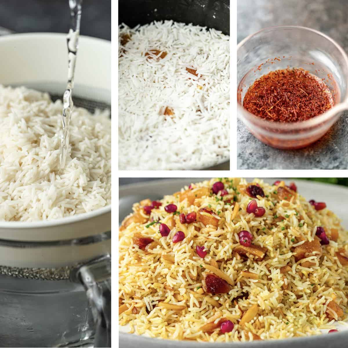 photo collage shows steps to making Persian saffron rice recipe