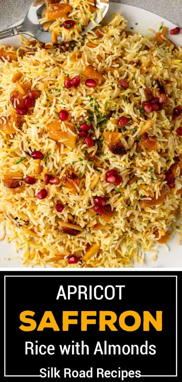 titled image (and shown): Apricot Saffron Rice with Almonds
