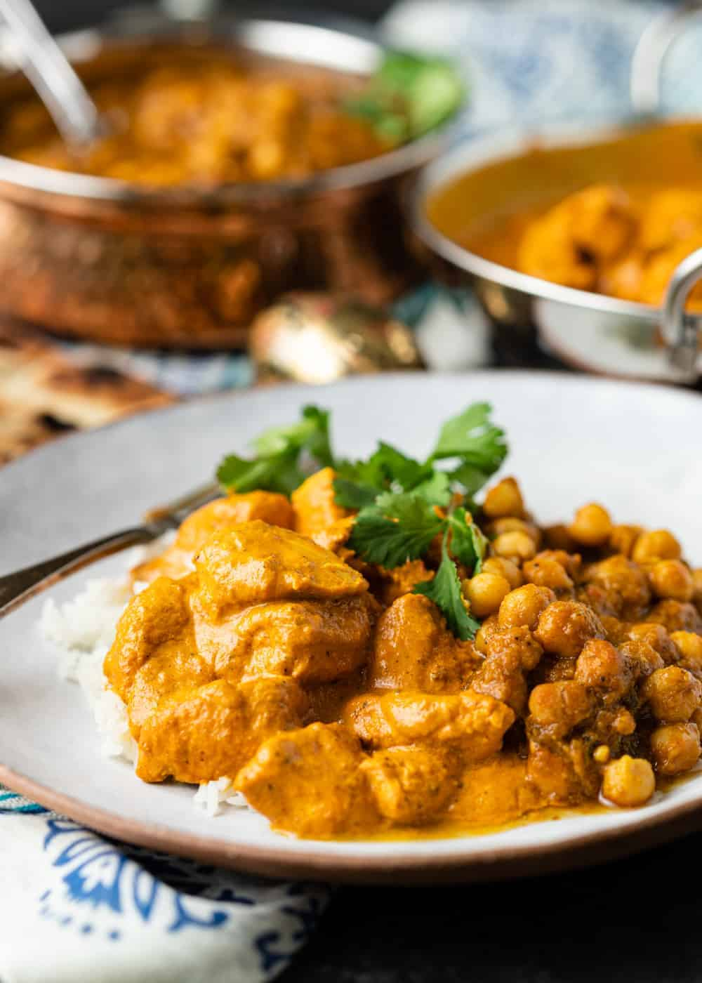 curry chicken on plate over white rice