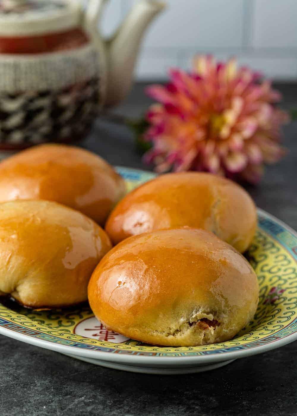 dim sum platter of baked barbecue pork buns