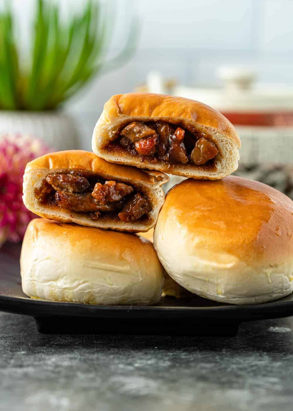 side view photo shows instead of char siu bao (Chinese bbq pork buns)