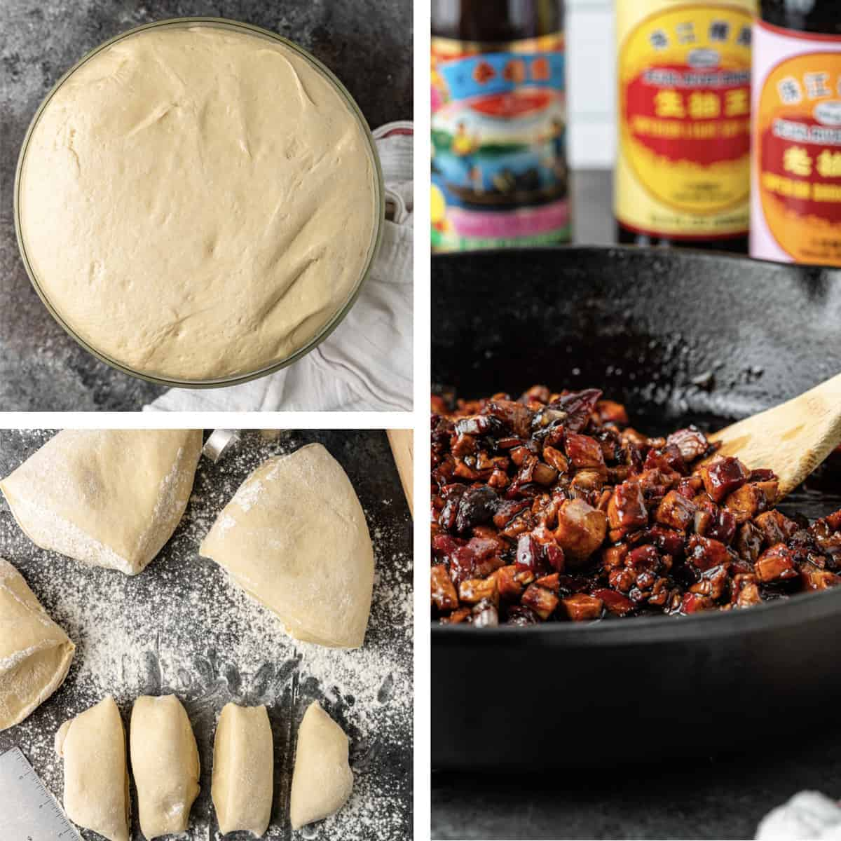 photo collage with steps for creating char siu filling for Chinese baked pork buns