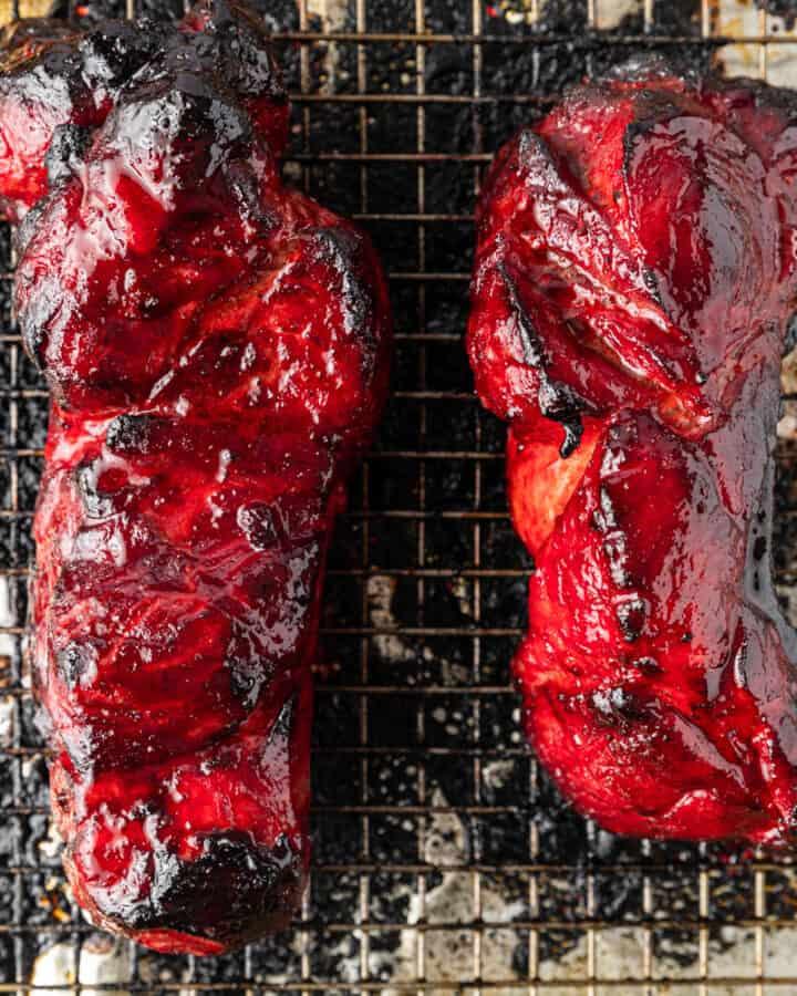 overhead photo: 2 large pork Char Siu roasts