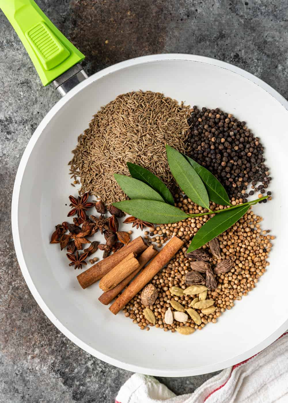 coriander, star anise, peppercorns, bay leaves, cinnamon sticks and other spices in a dry skillet