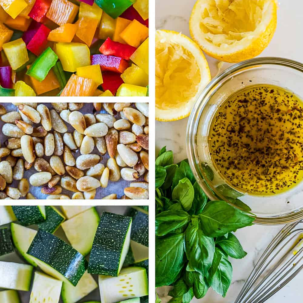 photo collage of ingredients for a couscous salad recipe - multi colored bell peppers, zucchini, lemon dressing, and toasted pine nuts