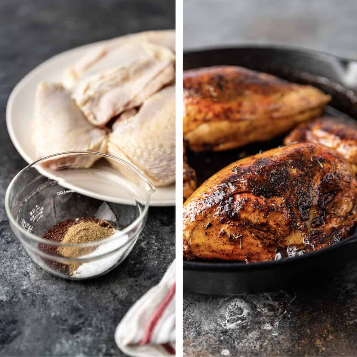 side by side photo collage - on left: raw chicken breasts with the skin on next to bowl of dry spice mix. On right: chicken seared in cast iron pan
