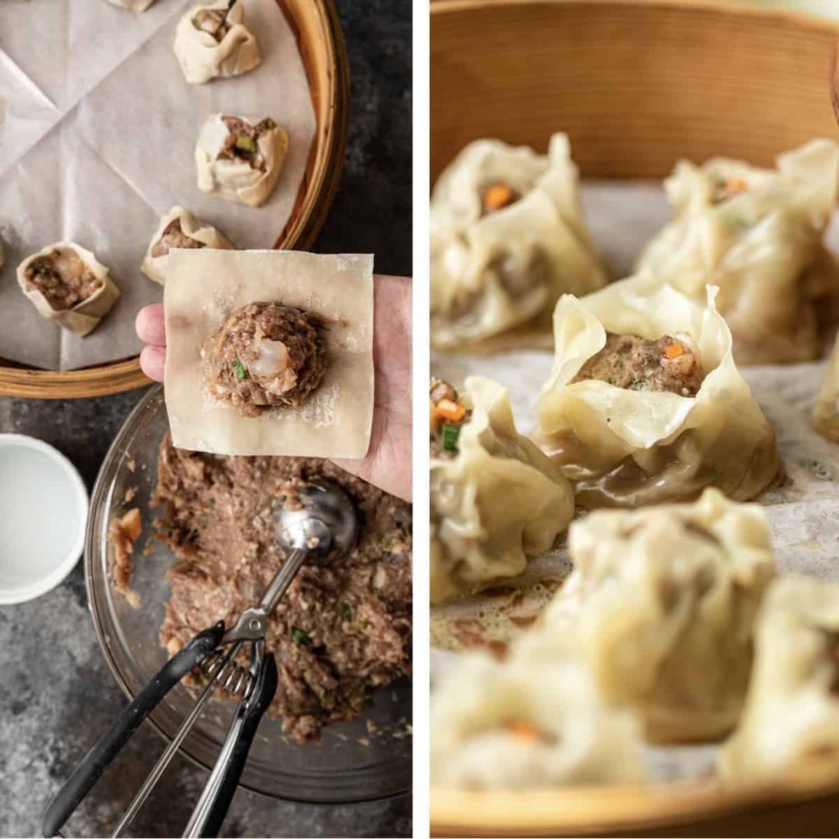 side by side photos: adding filling to dumpling wrappers and filled dumplings in bamboo steamer