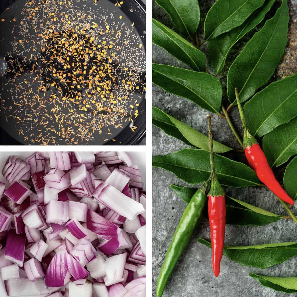 photo collage of ingredients used to make potato masala