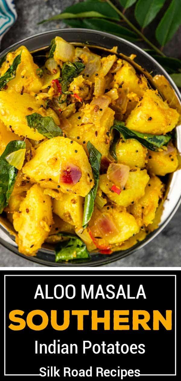 overhead: Aloo masala potatoes in serving bowl