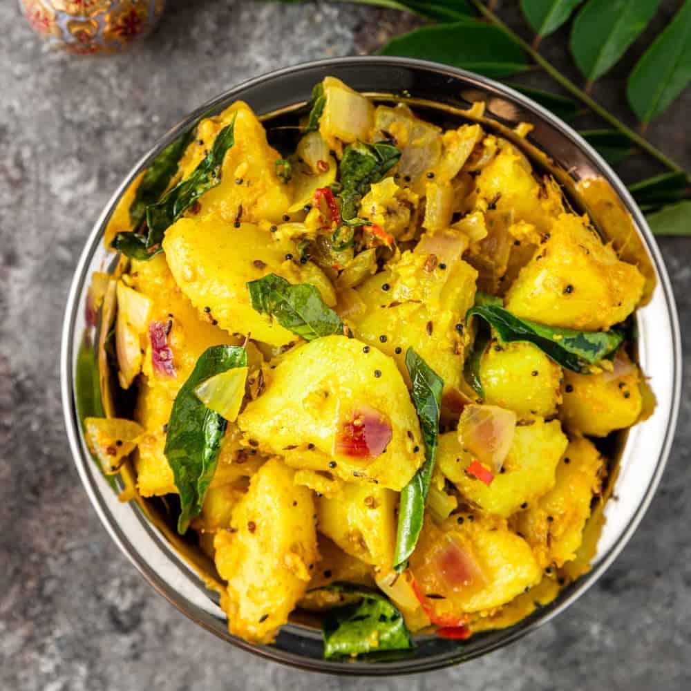 overhead image of aloo masala Indian potatoes side dish
