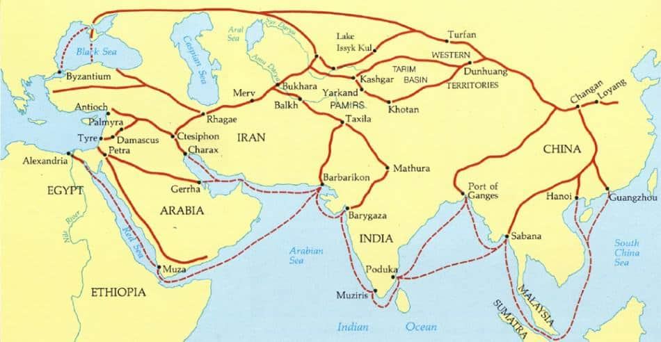 ancient silk road map