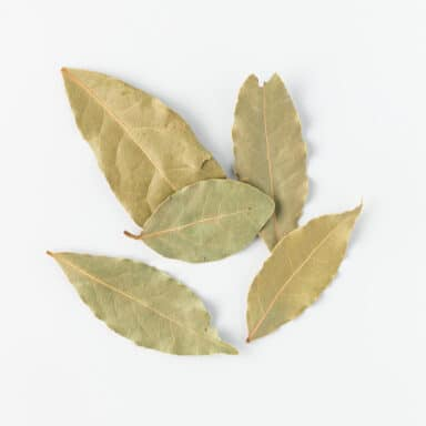 bay leaves on white table top