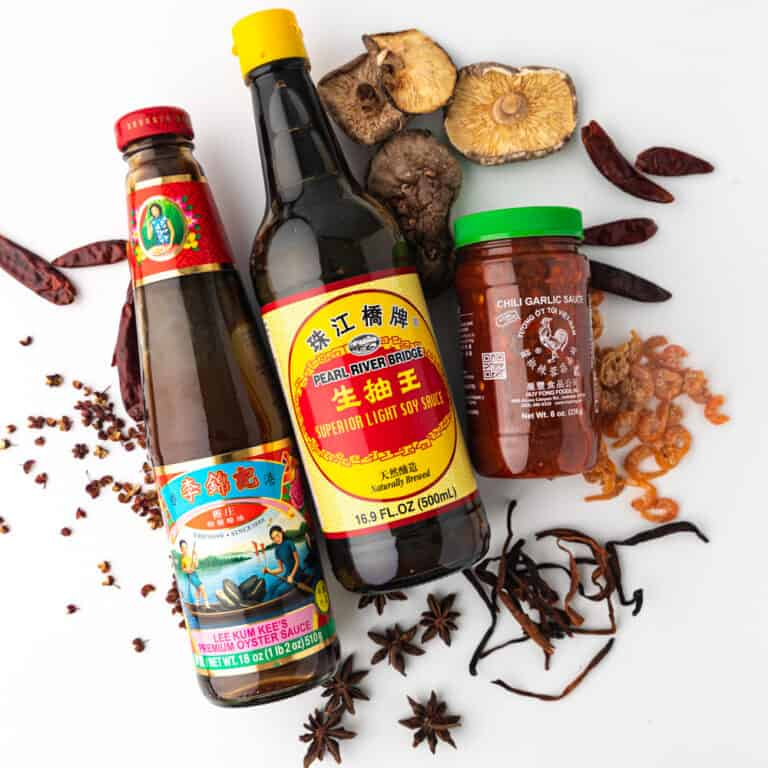 chinese spices, herbs and condiment son white table