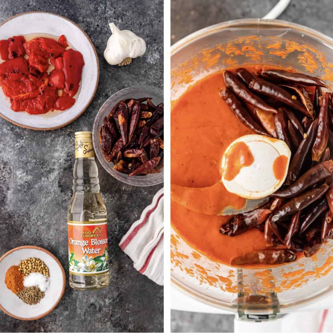 photo collage with ingredients on counter and in food processor to make hot chili paste
