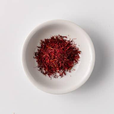 saffron in small white bowl