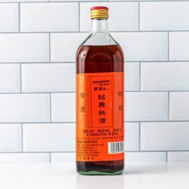 bottle of shaoxing wine on white tabletop