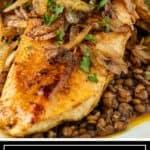 titled Pinterest image shows Berbere Chicken, an Ethiopian chicken recipe