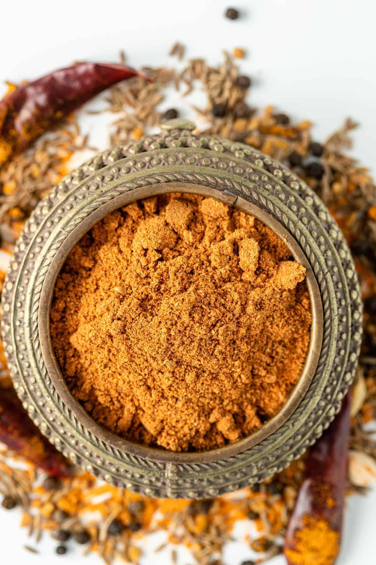 overhead: Ethiopian berbere spice mix in small dish