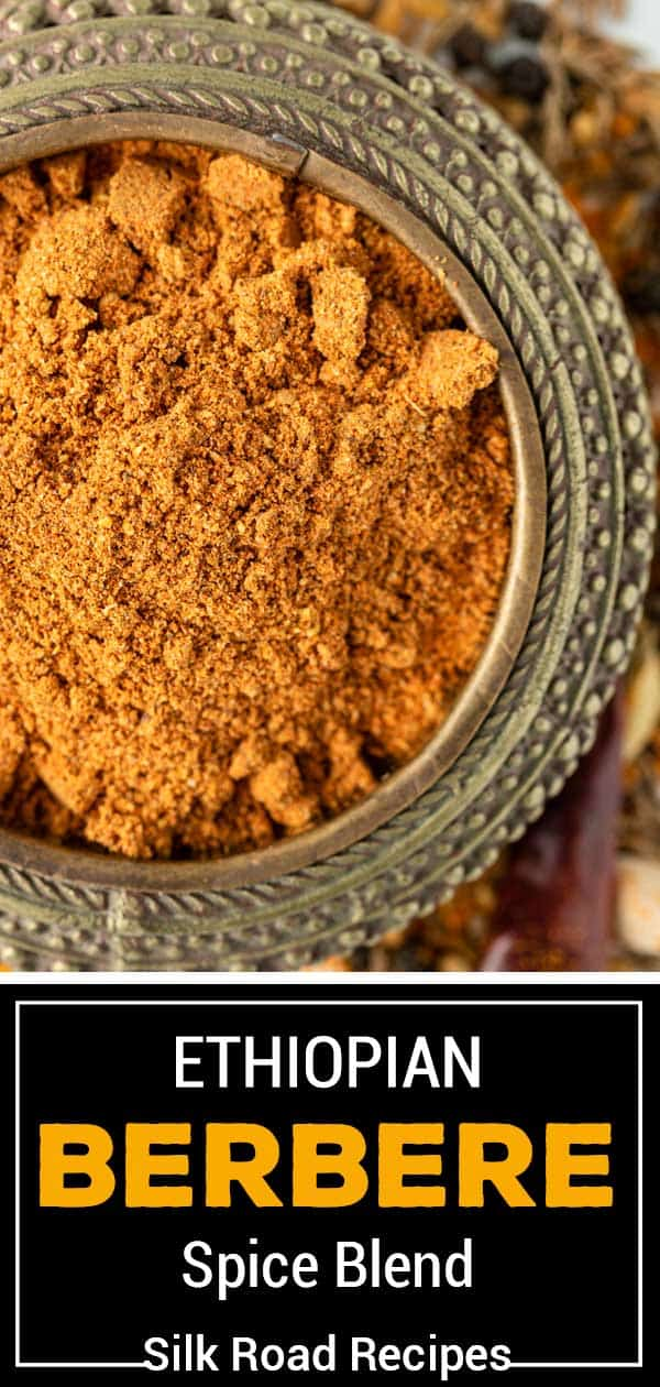 titled image for Pinterest shows small dish of Berbere spice blend