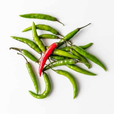 green thai chiles with one red