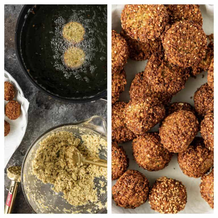 falafel cooking in a pan and on a plate