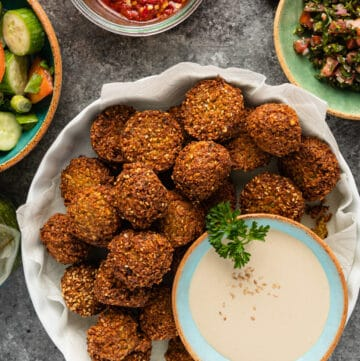 overhead image: dish of pan fried falafel