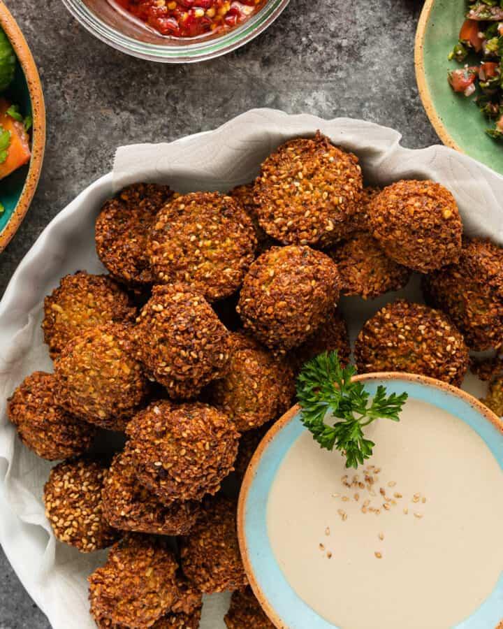 overhead image: dish of pan fried falafel