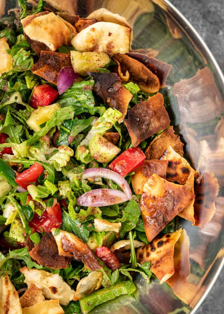 Fattoush salad in a mixing bowl