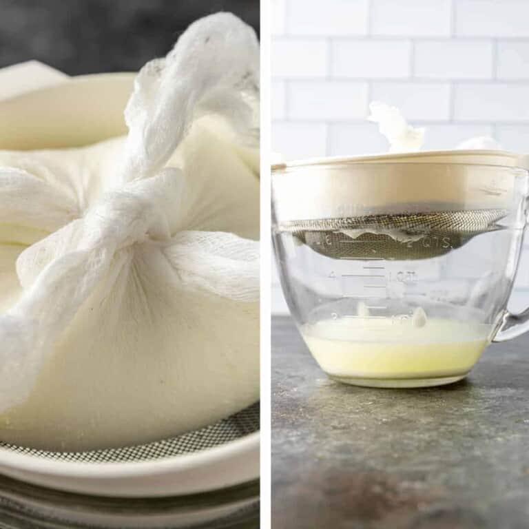 straining Greek yogurt through cheesecloth and mesh sieve over glass bowl