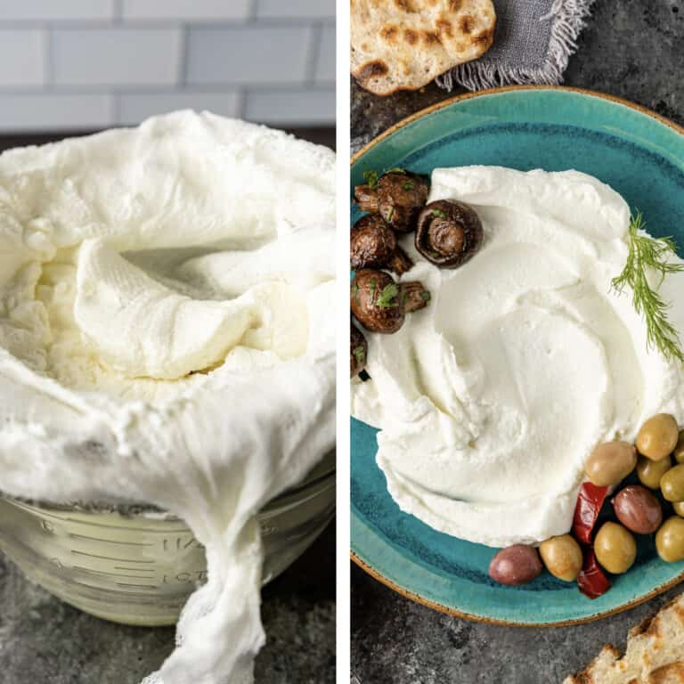 side by side photo collage shows how to make yogurt cheese by straining through cheesecloth