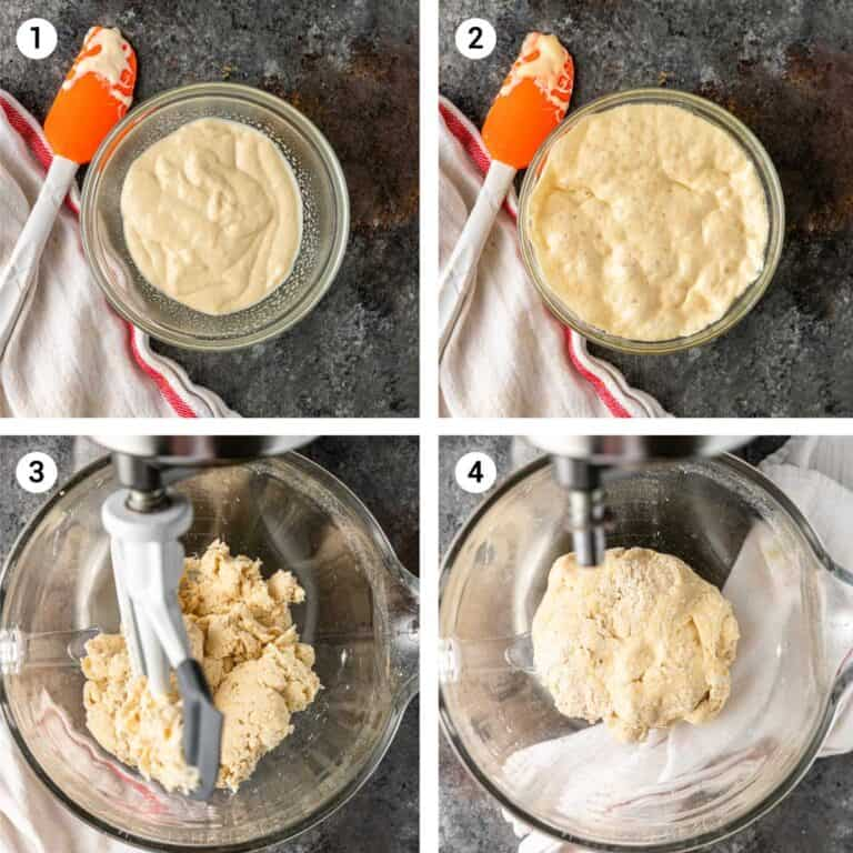 4-photo collage shows how to make dough for a lavash recipe