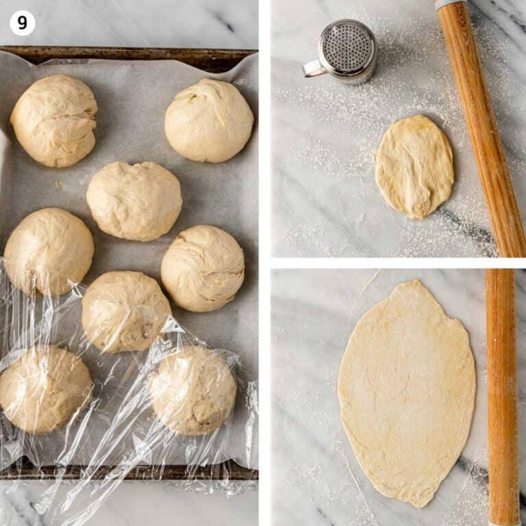 balls of yeast dough rising under plastic wrap and being rolled into flatbread