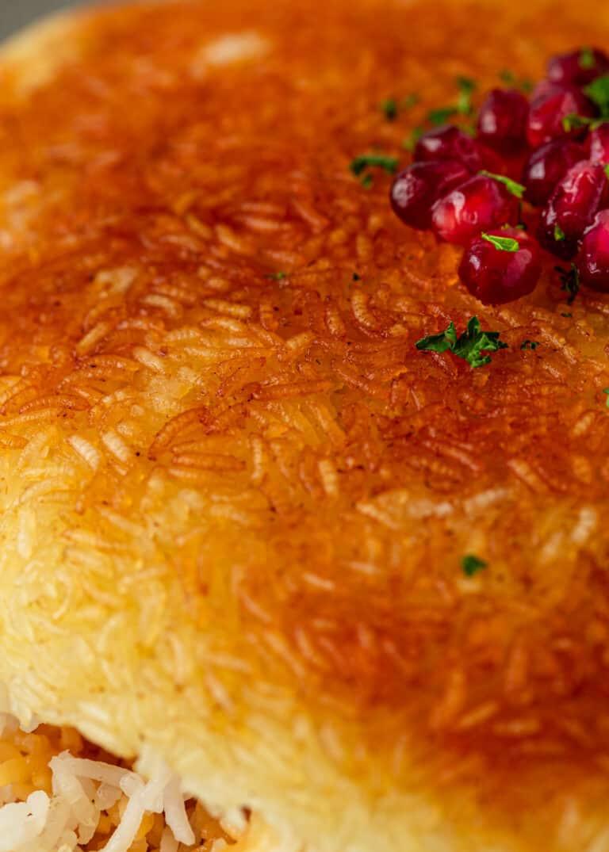 close up image of Persian crispy rice side dish