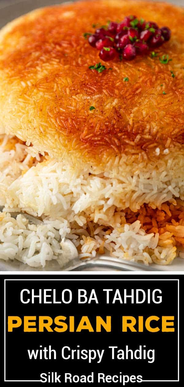 titled Pinterest image (and shown): Persian Rice Tahdig