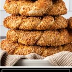 titled photo for Pinterest (and shown): Sesame Bread Rings